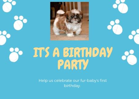 A blue party invitation for a first puppy birthday.