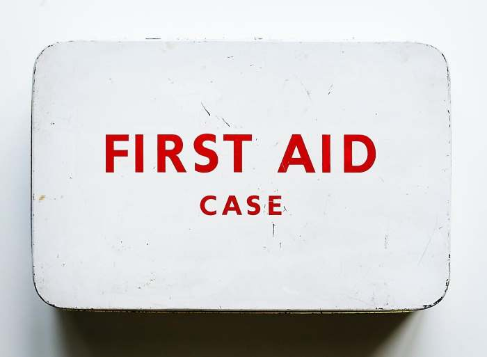 An old metal first aid case