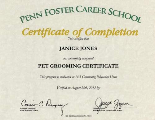 Pet Grooming Certificate
