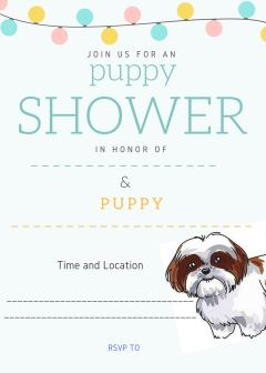 Shih Tzu Puppy Shower Invitation Style 2