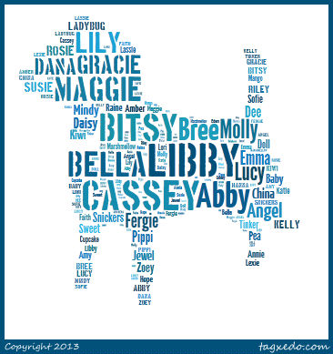 Word Cloud of Girl Dog Names